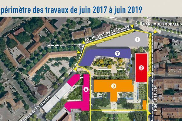 Le périmètre des travaux de juin 2017 à juin 2019