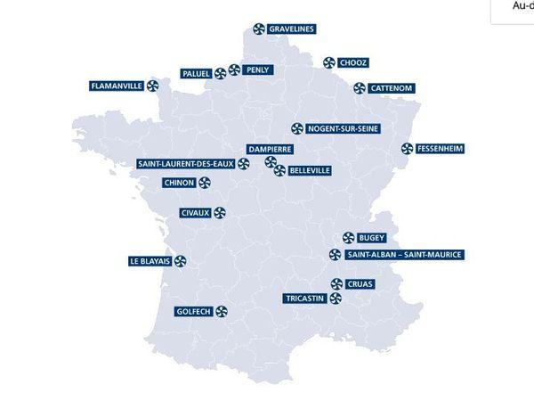 Carte des centrales nucléaires
