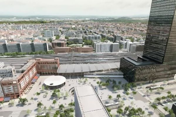 Le nouveau visage de la gare de la Part Dieu avec à droite la nouvelle tour donnant sur l'esplanade Beraudier et son parking souterrain