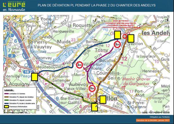 Carte de la déviation mise en place pour les poids-lourds qui devront traverser la Seine à Aubevoye / Courcelles au lieu des Andelys  mars à août 2021