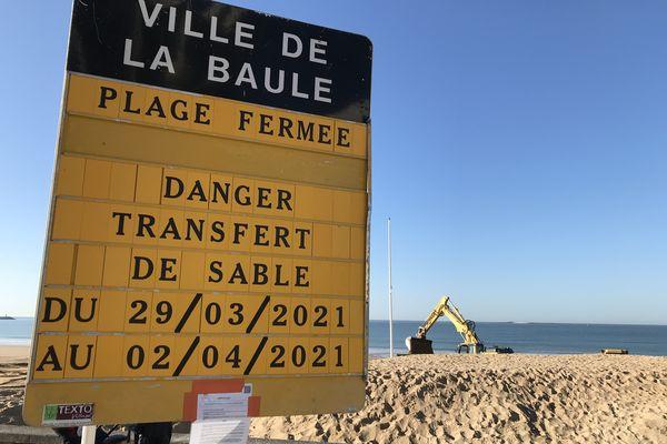 Les plages de La Baule et Pornichet fermées pour des travaux de nivellement du 29 mars au 2 avril 2021