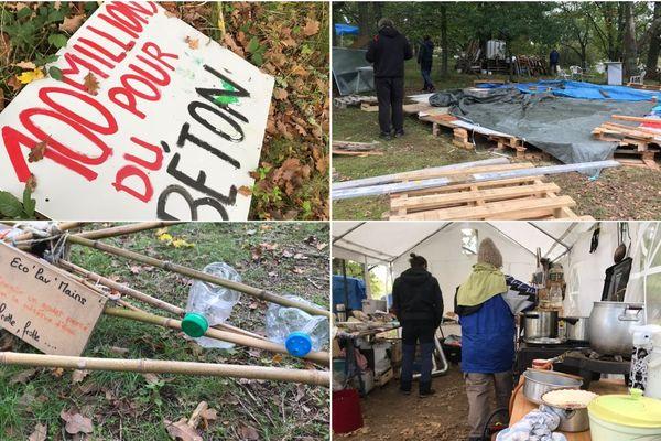 Une yourte est en cours de construction pour passer l'hiver au chaud. Les pancartes, elles, attendent les actions à venir.