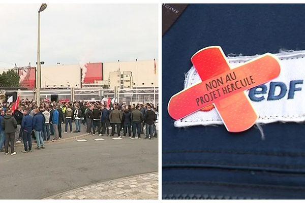 La mobilisation des salariés d'EDF à Gravelines (Nord), le 19 septembre 2019.