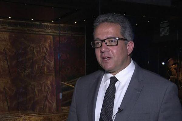Khaled El Enany, docteur en égyptologie diplômé de l'universitéPaul-Valéry de Montpellier et actuel ministre égyptien des antiquités à Paris lors de la grande exposition Toutânkhamon. - Mars 2018