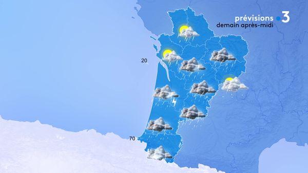 Les orages gagneront l'ensemble de la région accompagnés d'un vent soutenu sous les rafales...