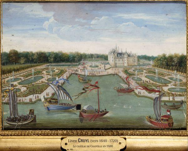 Vue du château et des parterres de Chantilly prise du Vertugadin vers 1670 par Liven Cruyl. Ecole française de la fin du XVIIe siècle.