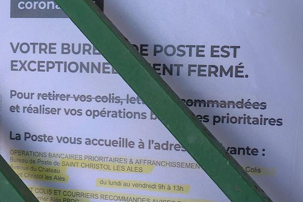 Saint-Privat-des-Vieux (Gard) - Malgré le déconfinement, le bureau de poste restera fermé - mai 2020.