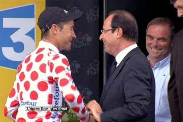François Hollande a salué les vainqueurs français d'étapes  et notamment Thomas Voeckler