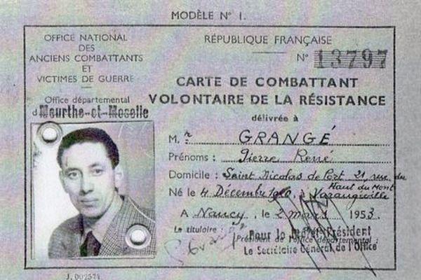 Carte d'ancien combattant de Pierre Grange.