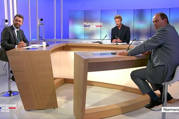 David Nicolas et Guénhaël Huet sur le Plateau de France 3 Normandie pour le débat du second tour de ces élections municipales 2020