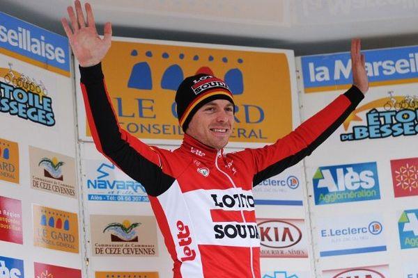 Le Belge Kris Boeckmans (Lotto-Soudal) célèbre sa victoire lors de la 1ère étape de l'Etoile de Bessèges - 4 février 2014
