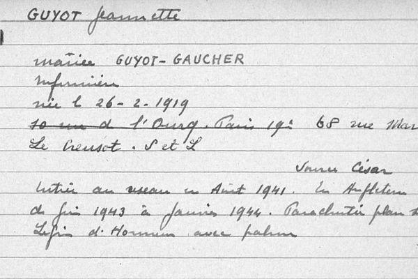 La fiche de la résistante Jeannette Guyot qui figure dans la base de données du réseau de résistance de la Confrérie Notre-Dame (CND-Castille)