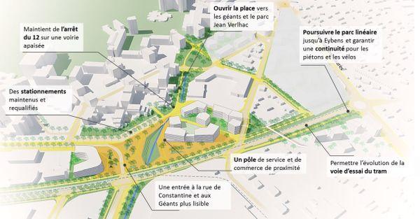 Le secteur des Saules, entre Grenoble et Eybens, avec en premier plan le futur cours de l'Europe.