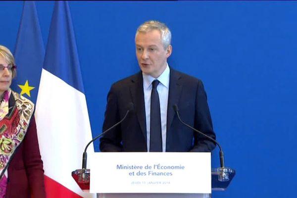 Bruno Lemaire lors sa conférence de presse sur Lactalis le 11 janvier 2018