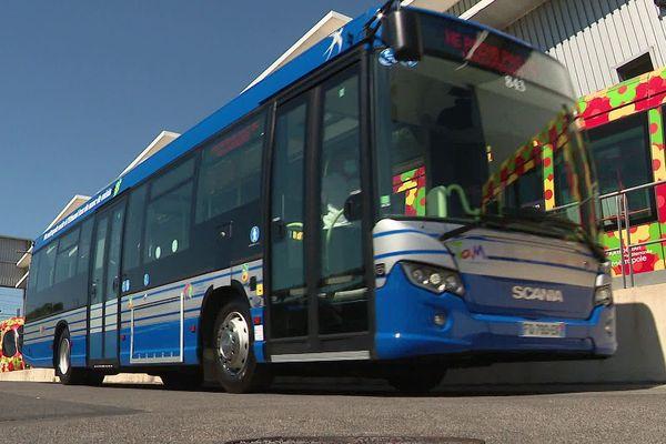 Montpellier - un bus de la TAM roulant au bioéthanol de marc de raisin produit par UDM à Vauvert dans le Gard - 23 juin 2020.