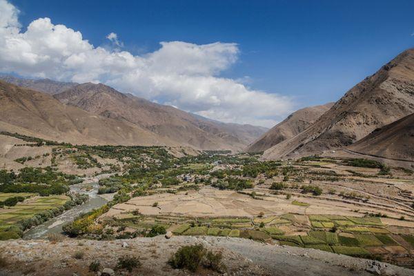 Photo prise en 2012. Paysage de la Vallée du Panshir près du mausolée du commandant Ahmed Chah Massoud.