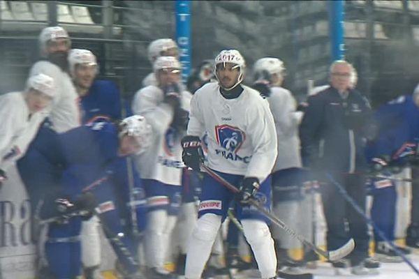 L'équipe  de France de Hockey-sur-glace pendant un entraînement