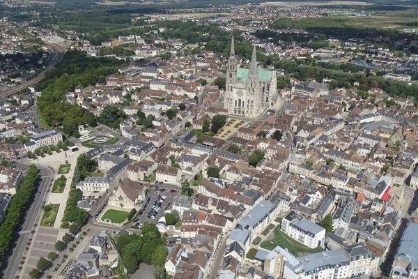 Chartres vue du ciel, Eure et Loir.