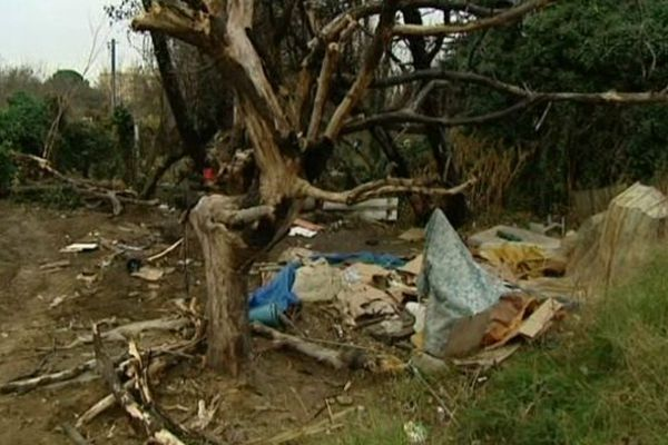 Perpignan - un camp de Roms installé sur un terrain appartenant à la mairie a été rasé - 10 janvier 2014.