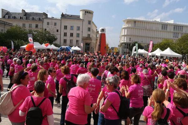 Au départ de la 10ème Marche rose, place du général Leclerc à Poitiers.