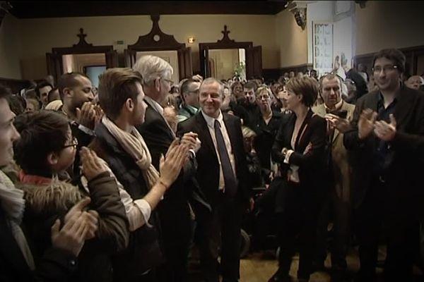 Denis Thuriot (au centre), lors des élections municipales de 2014