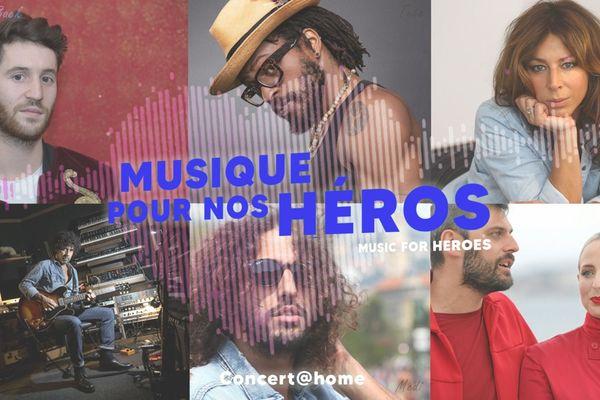 """Le concert caritatif """"Musique pour nos héros"""" avec Tété, Rose, Madame Monsieur, Medi, Broken Back, Yarol Poupaud, Mathias Malzieu, Ninety's Story et plein d'autres artistes. est à voir en exclusivité sur Facebook samedi 9 mai à 18h."""