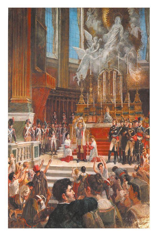 """""""Miracle de la liquéfaction du sang de San Gennaro en 1799 sur le maître-autel de la cathédrale en présence des troupes françaises"""". Ce tableau d'Hoffman dépeint l'accomplissement du miracle sous les yeux des soldats napoléoniens."""