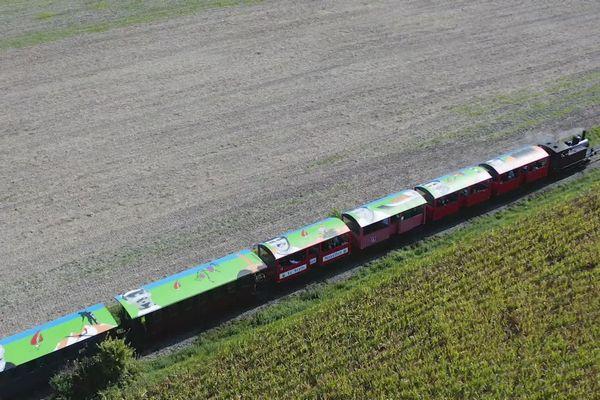 Les toits de treize rames du Train des Mouettes décorées aux couleurs du Tour de France.