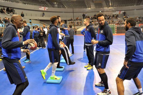 Entraînement de l'équipe de France de handball le 4 janvier 2017.