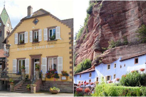 De gauche à droite : l'auberge Au Cheval Blanc et les maisons troglodytes de Graufthal.