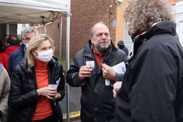 Agnès Pannier-Runacher, ministre de l'Industrie et Eric Dupond-Moretti, Garde des Sceaux, en campagne à Méricourt (Pas-de-Calais) pour les régionales.