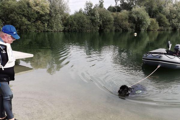 Surveillée par son maître, Gade doit tracter un pneumatique jusqu'au rivage pour la troisième épreuve.