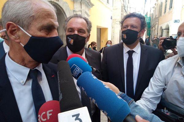 Hubert Falco, maire de Toulon et Renaud Muselier, président sortant de la région étaient ensemble ce mercredi après-midi, à l'inauguration de l'exposition sur Napoléon, à Toulon.