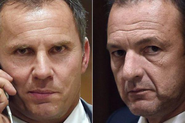 A gauche, le président de MCM (ex-SNCM) Patrick Rocca et à droite, François Padrona, président de Corsica Maritima. Les 2 hommes d'affaire corses s'opposaient sur le dossier de la reprise de la SNCM, aujourd'hui ils évoquent une fusion.