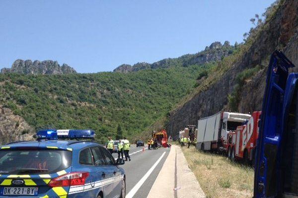 Le poids lourd a quitté l'A75 après la sortie du tunnel du Pas-de-l'Escalette, dans l'Hérault.