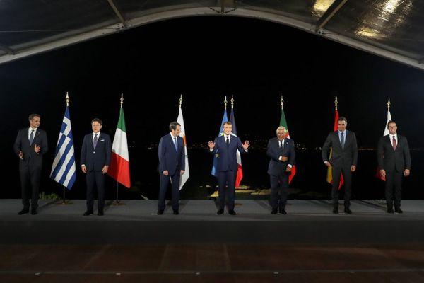 Les sept dirigeants du sommet du Med7 (France, Grèce, Italie, Espagne, Chypre, Malte, Espagne, Portugal) qui s'est tenu en Corse
