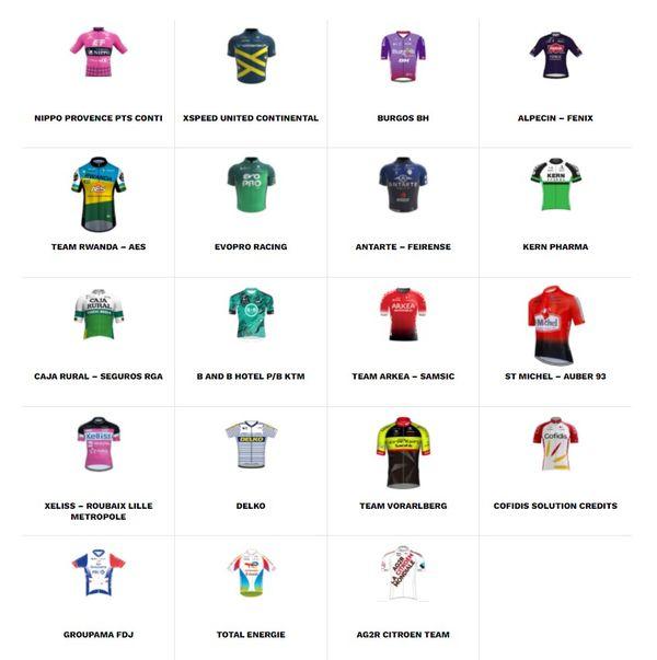 Les 19 équipes engagées sur le Tour de Vendée 2021