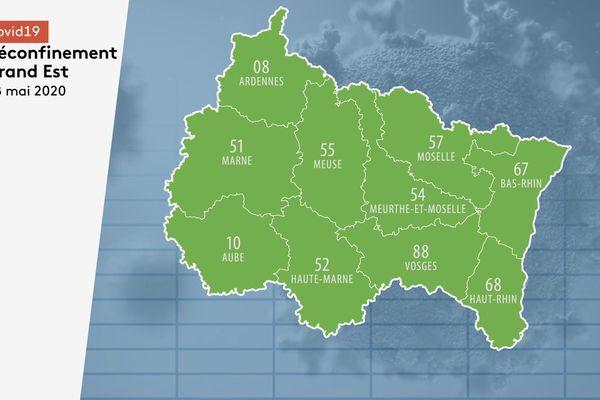 Les dix départements de la région Grand Est sont passés en vert