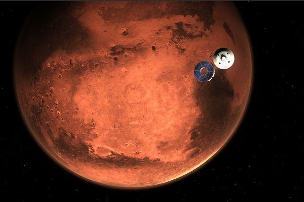 Perseverance se pose sur Mars (simulation)