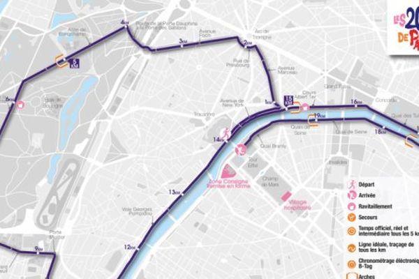 Parcours des 20 km de Paris édition 2019