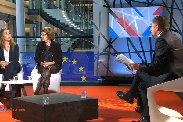Tiziana Beghin et Marie Christine Vergiat sur le plateau de Dimanche en Politique Transfrontalier depuis le Parlement européen de Strasbourg