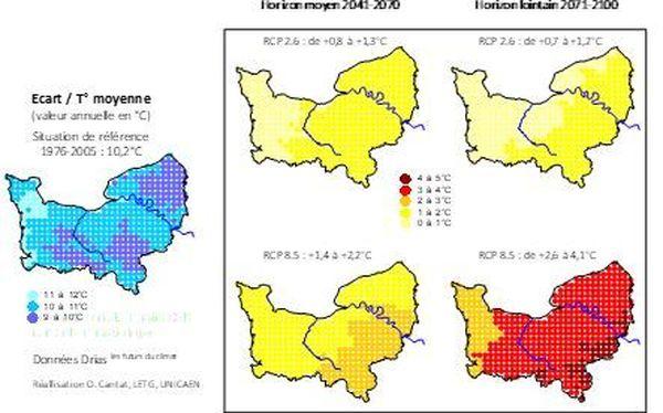 Projection : évolution  des températures atmosphériques moyennes annuelles en Normandie- Horizon moyen et long terme