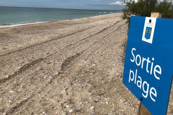 Des panneaux balisent le sens de circulation obligatoire sur la plage du Prévôt à Villeneuve-les-Maguelone, avant l'ouverture au public prévue samedi 16 mai à 8h.