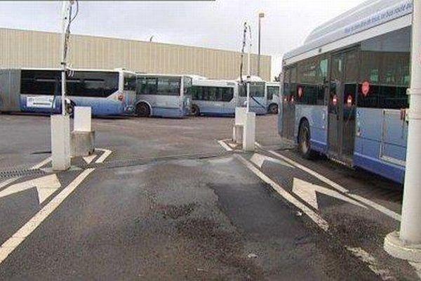 Le dépôt des bus Ginko à Besançon.