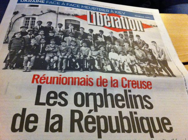 """La une de Libération du 19 février 2014, lendemain du vote de la résolution mémorielle en faveur des """"enfants de la Creuse"""" à l'Assemblée Nationale"""