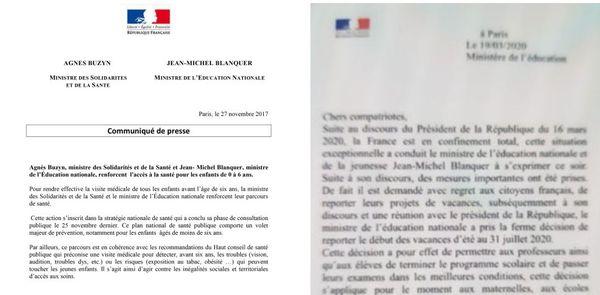 A gauche, un communiqué officiel du gouvernement. A droite, une fausse reproduction.