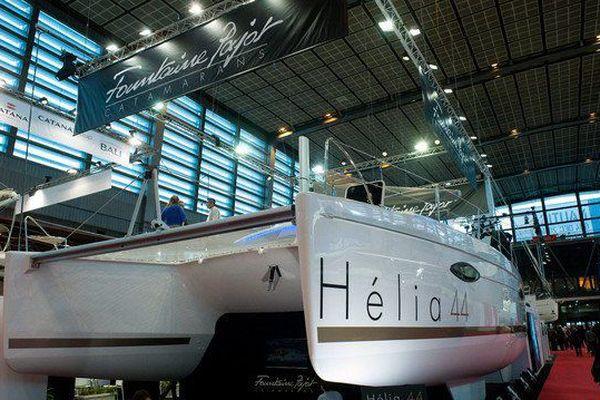 Le Hélia 44, l'une des valeurs sûres de Fountaine-Pajot, présenté ici au Salon nautique de Paris en 2014.