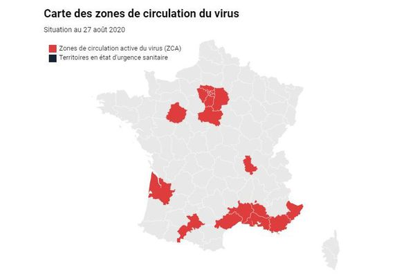 La Haute-Garonne est en zone rouge de circulation active de la Covid-19 sur la carte de France, pas le Puy-de-Dôme.