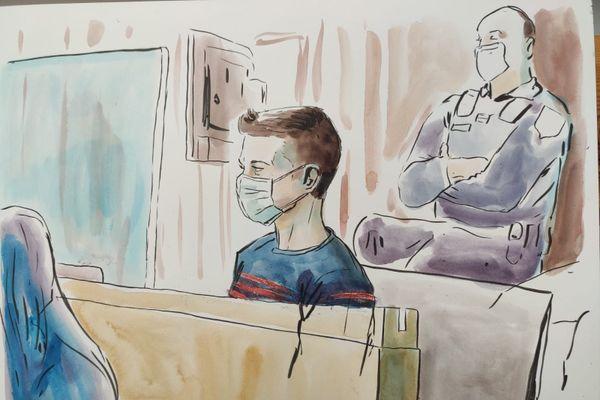 Jonathann Daval dans le box des accusés de la cour d'assises de Haute-Saône.