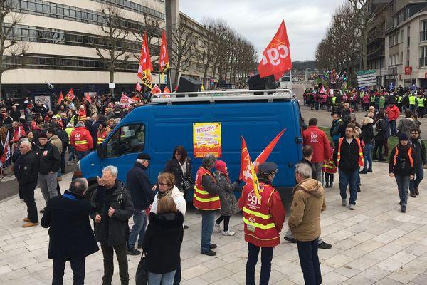 Jeudi 20 février 2020, à Rouen. Le cortège s'est rassemblé cours Clémenceau.